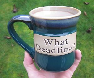 Clay Pottery Coffee Mug Tea Cup Commodities What Deadline Stoneware