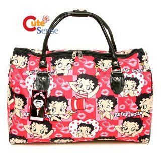"Betty Boop Cartoon Duffle Bag Travel Bag Diaper Gym Bag Pink Face 20"" XL"