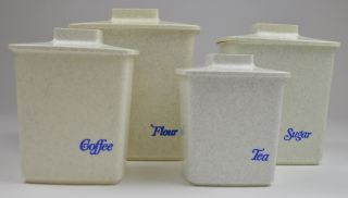 Tucker Housewares Grey Confetti Plastic Canister Set of 4 Flour Sugar Coffee Tea
