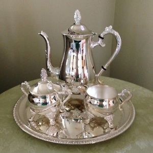 Silver Plated E P Brass 5pc Coffee Tea Set Tea Pot Sugar Creamer Plate