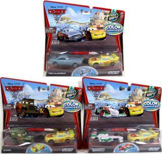 Disney Pixar Cars 2 Color Changers Lot of 3 2 Packs Finn Sarge Bernoulli McQueen