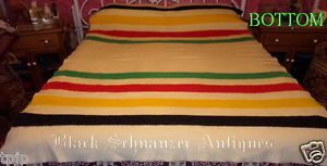 "RARE Gold Label 4POINT Cream w Stripes Hudson's Bay Company Wool Blanket 86""X64"""