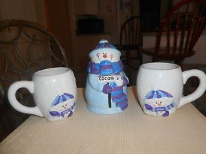 Houston Harvest 4 PC Snowman Cocoa Set Cocoa Jar Matching Mugs Charming