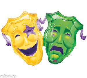 Jumbo Supershape Mardi Gras Comedy Tragedy Masks Masque Party Balloon