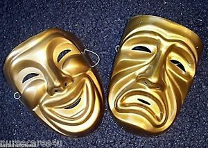 Comedy Tragedy Mask Set Gold Halloween Theater Wall Decor