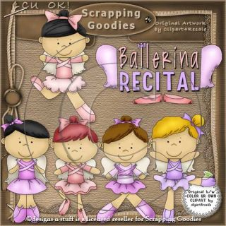 Dance Clipart Set Ballerina Dancer Pink Ballet Shoes Digital Scrapbooking CU