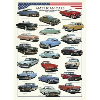 New Fun 1000 Piece Olden Days American Classic Cars Jigsaw Puzzle Chart