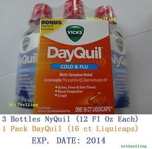 Vicks Nyquil 3 Bottle 12 FL oz Bonus 1 Pack Dayquil 16 Ct Liquicaps Cold Flu