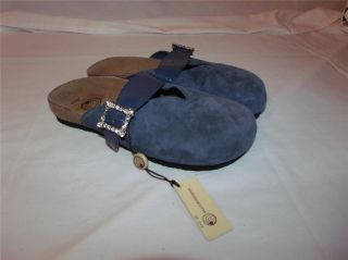 Eurowellness Euro Wellness Blue Suede Rhinestone Clogs Shoes New 7 37 5