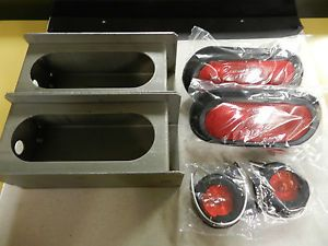 "Trailer Kit 6"" Oval Steel Box Tail Light Guard Complete Kit with Std Lights"