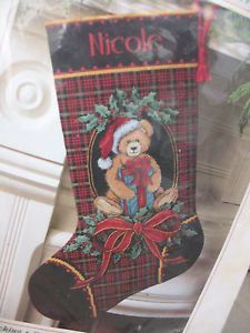 Dimensions Christmas Stocking Cross Stitch Kit Teddy Bear Plaid 2002 Complete