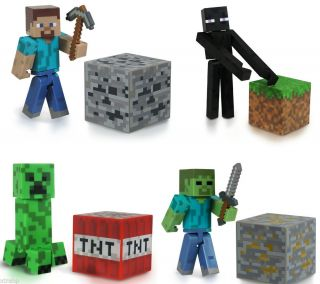 "Set of 4 Minecraft Steve Enderman Creeper Zombie 3"" Figure Toy Official Product"