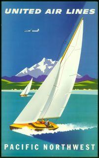 Original Vintage Travel Poster United Airlines Pacific Northwest Binder Sailing