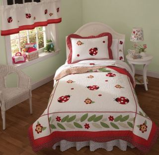 Lady Bug Yard Girls Bedding Twin Quilt Sham Set Valance New