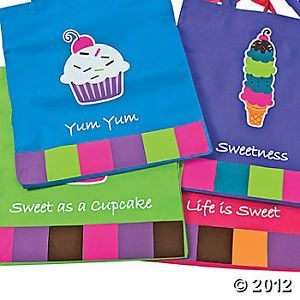 Sweet Treats Cupcake Ice Cream Cone Sundae Party Favor Treat Loot Bags Big 16""