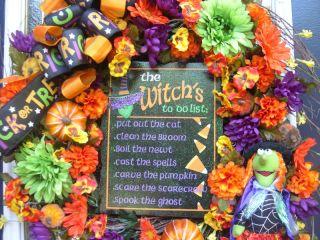 The Witch List Halloween Witch Doll Front Door Wreath Decoration XXL Pumpkins