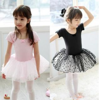 Girl New Party Leotard Ballet Tutu Costume Dance Skirt Short Sleeve Dress 2 7Y