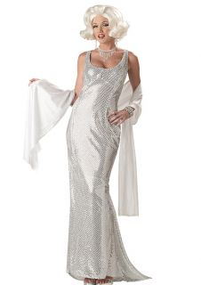 Large Licensed Marilyn Monroe Pin Up Girl Costume 1950's Silver Sequin Dress