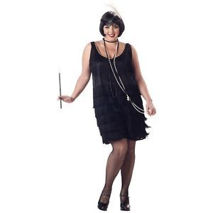 Fashion Flapper Costume Plus Size Roaring 20s Halloween Black Fringe Fancy Dress