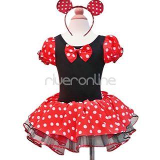 Disney Minnie Mouse Baby Girls Kid Costume Tutu Party Ballet Dress Ears Sz 1 2