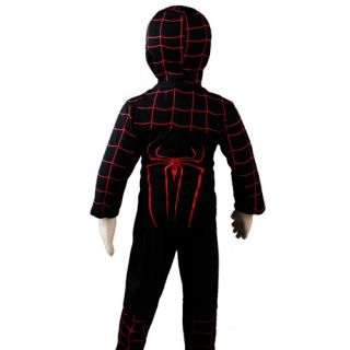 D302 Boys Black Red Spiderman Costume Party Halloween Carnival Outfits