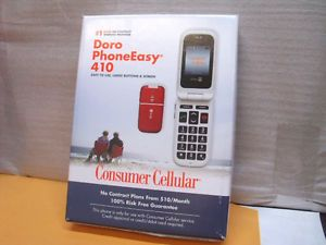Brand New Consumer Cellular Doro Phoneeasy 410 Cell Phone