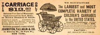 1890 Ad Baby Carriage Stroller Johnston Tallman Company Victorian Transportation