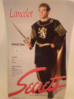 Secrets Deluxe Lancelot Medieval Knight Deluxe Costume Adult Large Black Gold