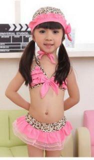Girls Leopard 2 8Y Swimsuit Swimwear Bathing Costume Tankini Pink Bowknot Bikini