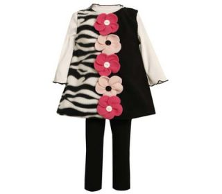 Bonnie Jean Girl Fall Zebra Coral Flower Fleece Jumper Top Leggings 3pc Set