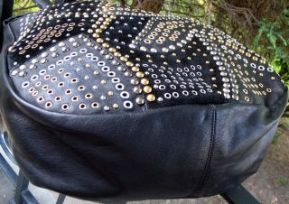 Abro Black Leather Hobo Bag Satchel Tote Made Italy