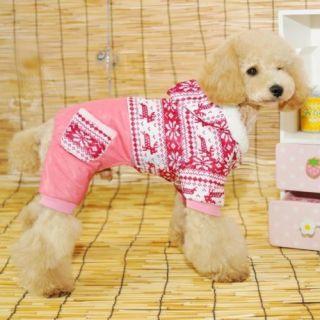 Pet Dog Clothes Hoodie Costume Winter Snowflack Jumpsuit Coat Jacket Apparel XS