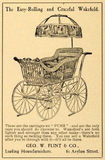 1899 Ad Wakefield Antique Stroller Baby Carriage Umbrella Go Cart Geo w Flint