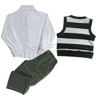 3pcs Baby Boys Casual Outfit Clothing Striped Vest Top Shirt Pants Set 1 2 3