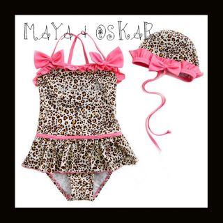 Baby Girls 2 Piece Swimsuit Swimwear Leopard Pink Ruffles Hat Skirt Glitter