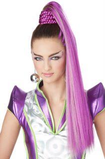 Cosmic Ponytail Halloween Costume Wig Purple Green