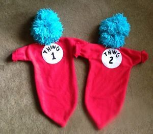 Handmade Infant Bunting Dr Seuss Thing 1 Thing 2 Halloween Costumes Wigs Twins