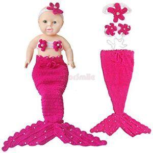 Little Mermaid Newborn Baby Girls Outfits Crochet Knit Tail Kid Costume Set Prop