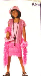 Halloween Costume Girls Size Large 10 12 Jazz Baby Pink Roaring 20s Flapper New