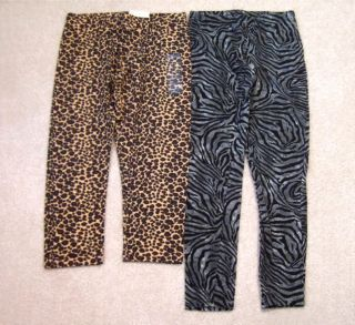 Lot Girls Fall Winter Animal Print Leggings 10 12 Arizona Cheetah Zebra One