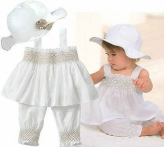 3pcs Baby Girl Kid Ruffle Top Pants Hat Set Outfit Clothes Costume 12 18 WHITE03