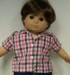 Pink Brown White Check Shirt Doll Clothes Made for Bitty Baby Girl Twin Debs