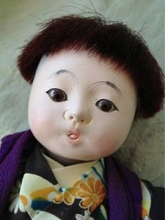 1930s 40s Japanese Ichimatsu Ningyo Gofun Boy Baby Doll