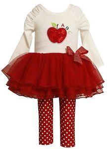 New Baby Girls Bonnie Jean Sz 12M ABC Apple Tutu Outfit Dress Clothes Pageant