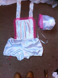 French Maid White Dress Cosplay Sissy Adult Baby CD TV Pants Bonnet Outfit