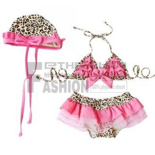 Girls Leopard 5 6Y Swimsuit Swimwear Bathing Costume Tankini Bowknot Bikini Size