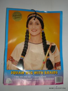 Franco Squaw Wig Braids Native American Indian Woman Girl Adult Costume 24571