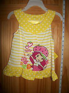 New Strawberry Shortcake Baby Clothes 18M Infant Girl Yellow Dress Top Blouse
