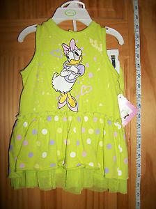 New Disney Baby Clothes 6 9M Daisy Duck Newborn Dress Set Hanger Green Bloomers