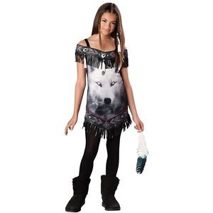 Tribal Spirit Costume Kids Native American Indian Wolf Halloween Fancy Dress